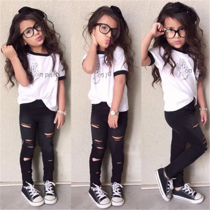 """Toddler Girls T-Shirt and Black Ripped Pants Set """"On Point"""" 2PCS Sizes 3T to 7. SKU:2522917Material: Cotton,PolyesterFit: Fits true to size, take your normal size Please allow 2-6 weeks for shipping/processing time."""