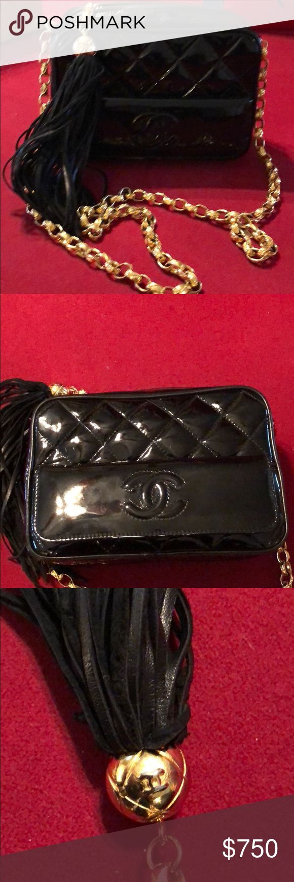 CHANEL Black patent leather/Gold shoulder bag Very nice condition; Classic Chanel diamond quilted patent leather black. CHANEL Bags Shoulder Bags