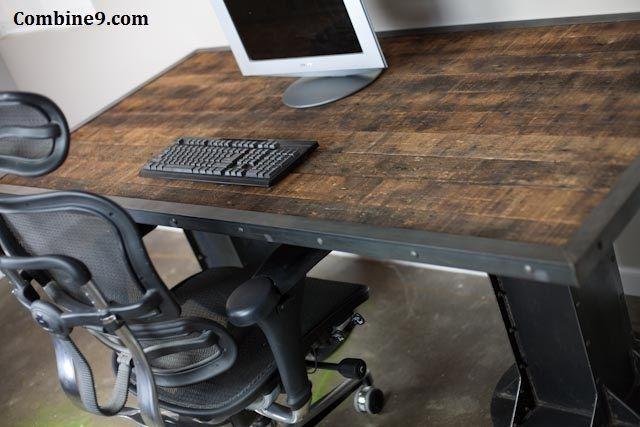 Custom Made Electric Sit Stand Desk Vintage Industrial