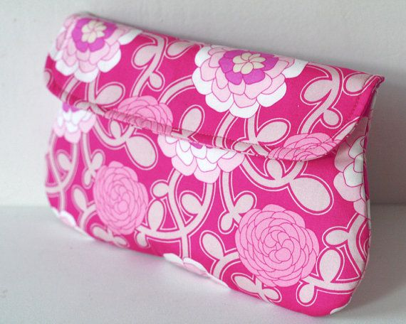 Pink Simple Clutch - Cotton clutch purse - Delicate Duet in Pink
