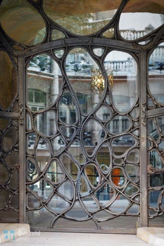 Door at Guadi's La Pedrera apartment building in Barcelona, Spain
