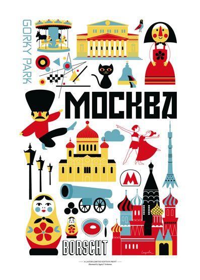 City poster for Lagom Design by Ingela P. Arrhenius.