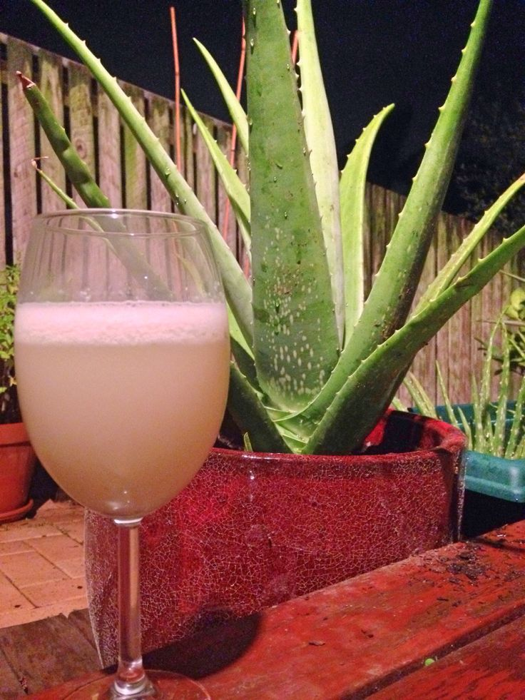 Aloa Vera 'champagne' made with Aloa Vera, freshly squeezed lemon and lime juice, coconut water and stevia.