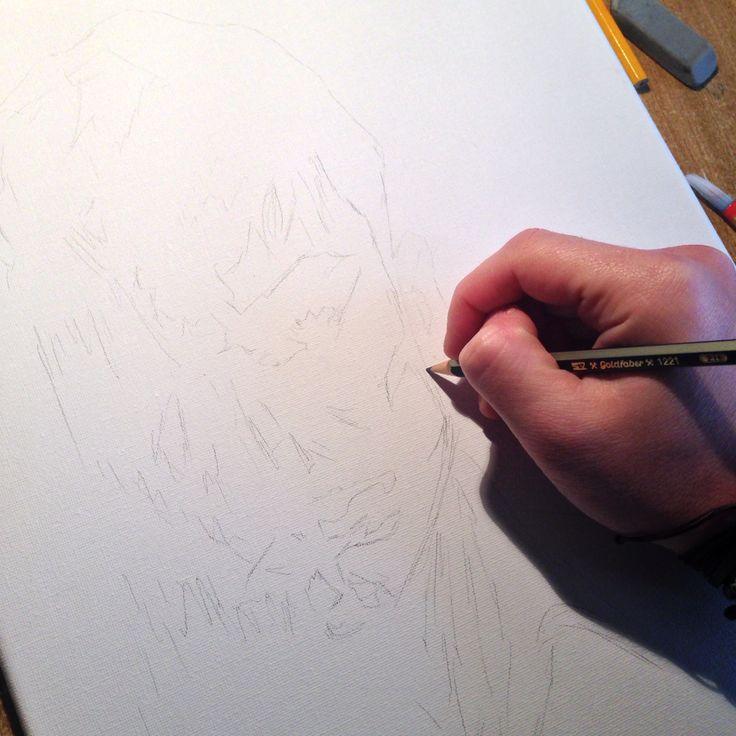 Disegno Dylan Dog su tela