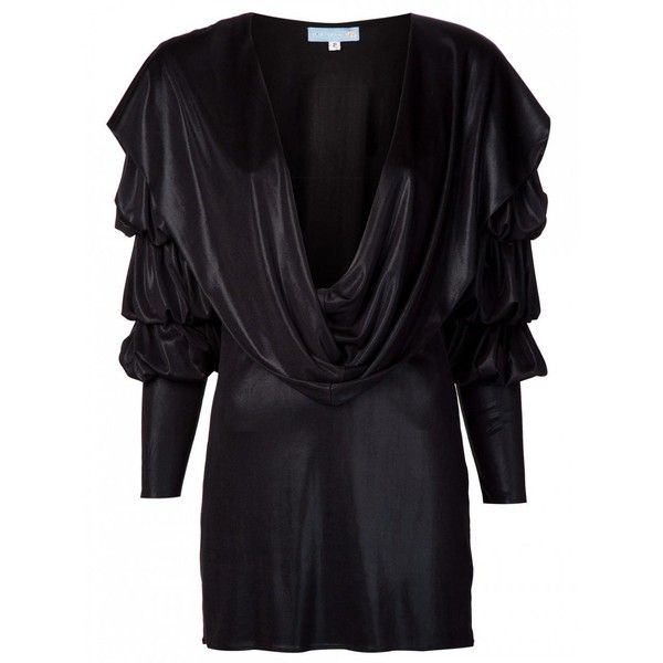 Julia clancey - julia clancey grace dress black metallic ($449) ❤ liked on Polyvore featuring dresses, knit dress, slip dress, drape dress, short slip and long dresses