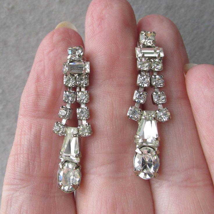 1950's Vintage Signed Weiss Dangle Rhinestone Earrings. Vintage Jewelry under $25 at Ruby Lane @Ruby Lane