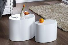 Design Beistelltisch 2er Set DIVISION Hochglanz weiss Holz oval Couchtisch
