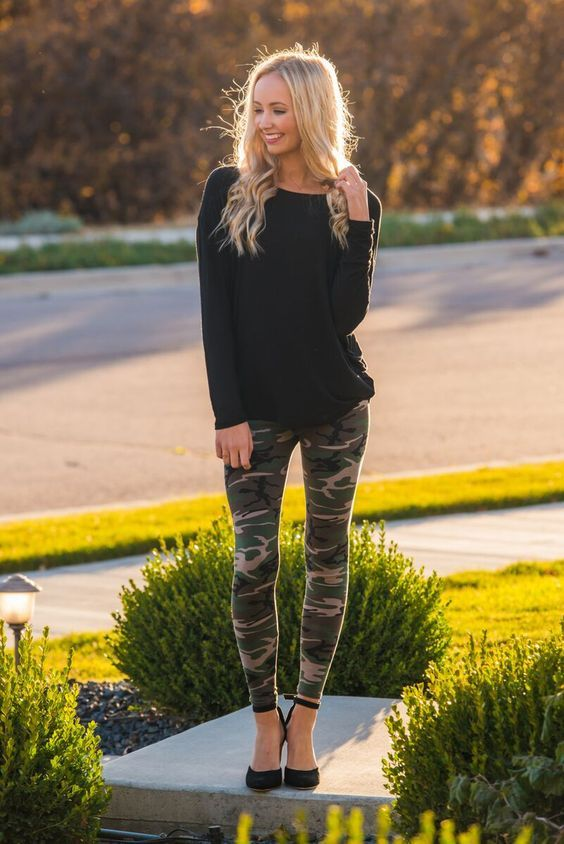 Hello date night! Pair camo leggings with a black or simple colored long sleeve top and sexy black heels