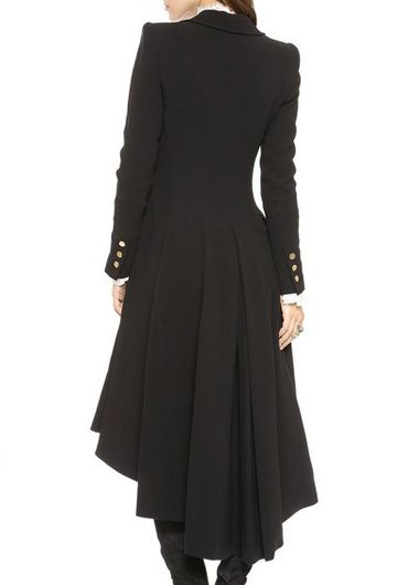 Laconic Turndown Collar Long Sleeve Black Long Coat