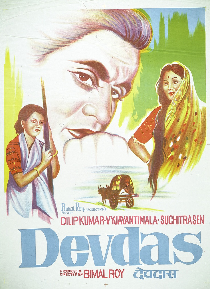 Devdas (1955), Dilip Kumar, Classic, Indian, Bollywood, Hindi, Movies, Posters, Hand Painted