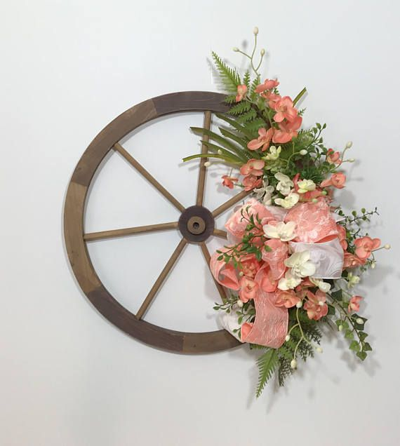 Small Wooden Wagon Wheel Spring Flowers Swag Wagon Wheel