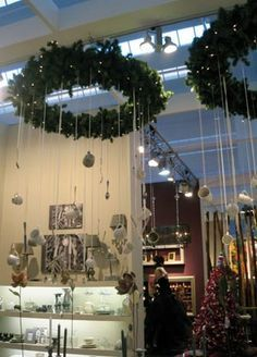 holiday display hanging evergreen branch - Google Search