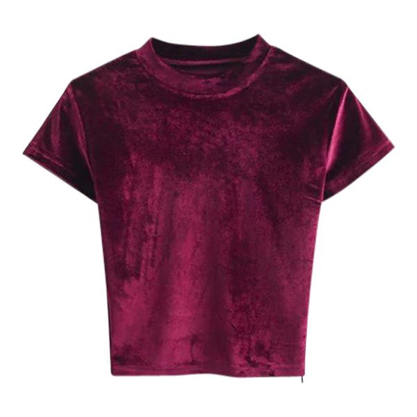 Velvet Crew Neck Cropped T-Shirt Burgundy ($19) ❤ liked on Polyvore featuring tops, t-shirts, crewneck tee, crew neck t shirt, velvet top, crewneck t shirt and purple top
