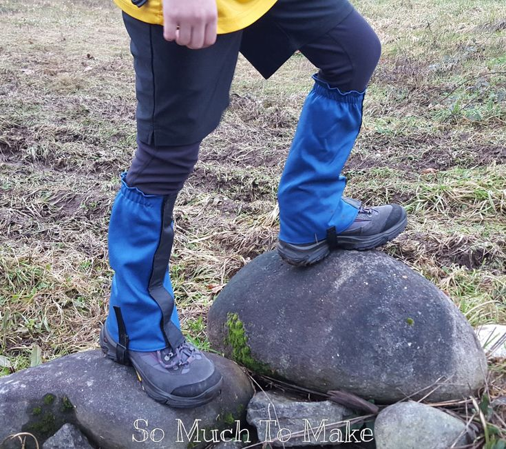 Kids' Hiking Gaiters Pattern from SoMuchToMake. Complete sewing pattern and tutorial available. Gaiters protect little legs and shoes from snow, rocks, mud, thorns, dust and dirt! No more wet socks or frayed pants legs!