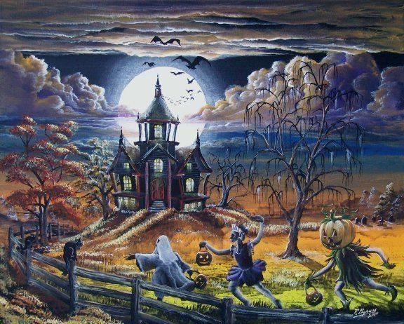Country Halloween by Ron Byrum ~ Folk Art haunted house bats trick-or-treaters spooky trees