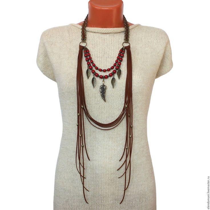 """Купить Колье """"СЕРАФИМА"""" - ярко-красный, стильные штучки, авторские украшения, елена доманина, бохо"""