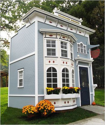 Playhouses for kids - omg! WHAT!! Would make a great studio, I could see studio on bottom a stairs leading up to a loft that could be used for an office, this could be built behind the main house a little further back, ahhhh, yes I forget, I need to win the lottery lol !!!!!!! I need main house before I can build a art studio lol !!!