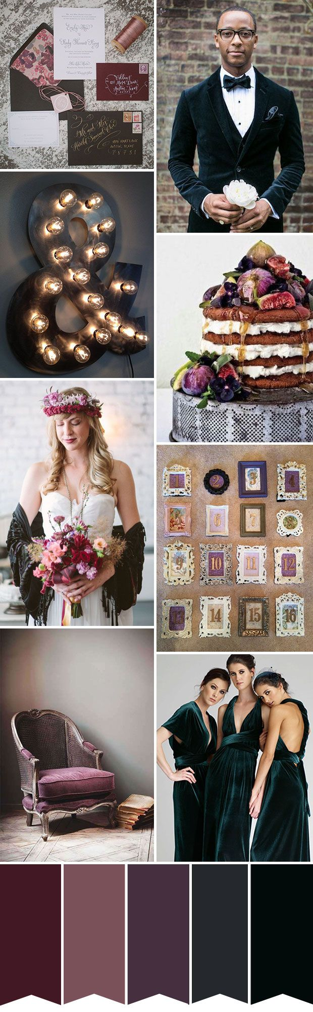 A beautifully moody, dark velvet inspired wedding color palette for Fall | www.onefabday.com