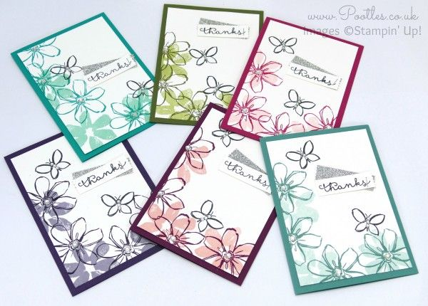 Stampin' Up! UK Demonstrator Pootles - July Thank You Cards Garden in Bloom All Colours