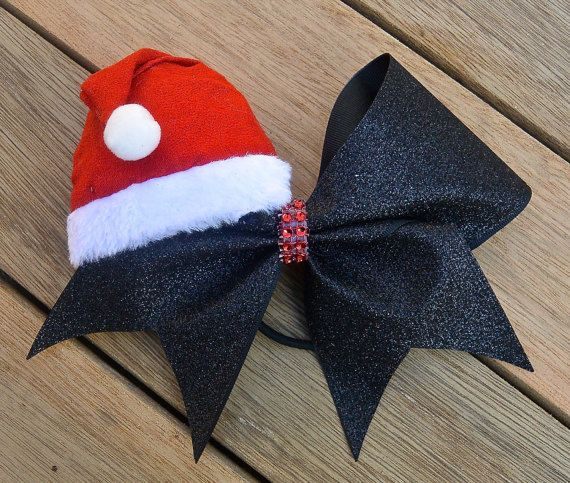 Big Christmas Cheer bow / Holiday Cheer bow / Santas Hat Handmade Big glitter amd bling cheer bow / Santa Cheerleading Bow / Santa Claus Bow