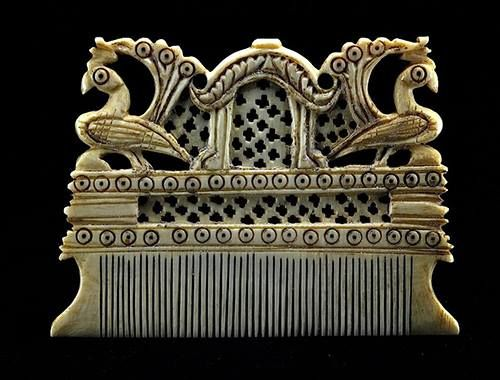 18th Century ivory comb from Karnataka, India.