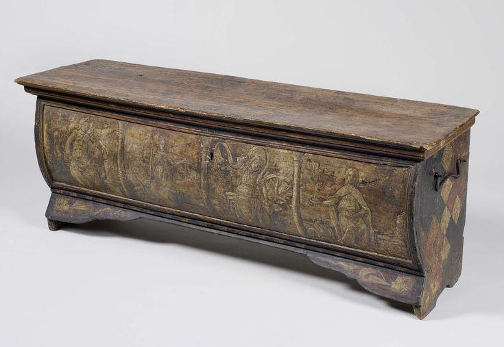Kist, beschilderd met heraldische figuren en met op het front tussen Corintische zuilen zittende vrouwenfiguren: Fortitudo, Justitia, Temperantia en Prudentia, anoniem, 1400