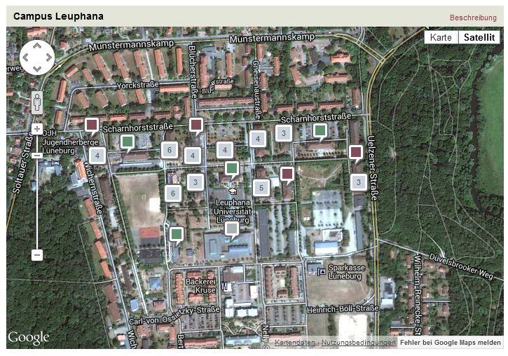 CAMPIX ist eine neue Applikation der Leuphana, das Kartendarstellungen mit Texten, Bildern oder anderen Dateien verbindet. So ist es möglich, auf einer Kartendarstellung des Campus Punkte zu markieren und mit Informationen zu verbinden. Bei der Auswahl eines Punktes können dann beispielsweise eine Adresse und Informationstexte angezeigt werden. Oder es steht eine Galerie zur Verfügung in der sich Bilder öffnen, die Gebäude zeigen: http://campix.leuphana.de/campus.