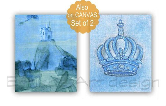 Castle Art Print Crown Wall Art Prince Nursery Art Blue