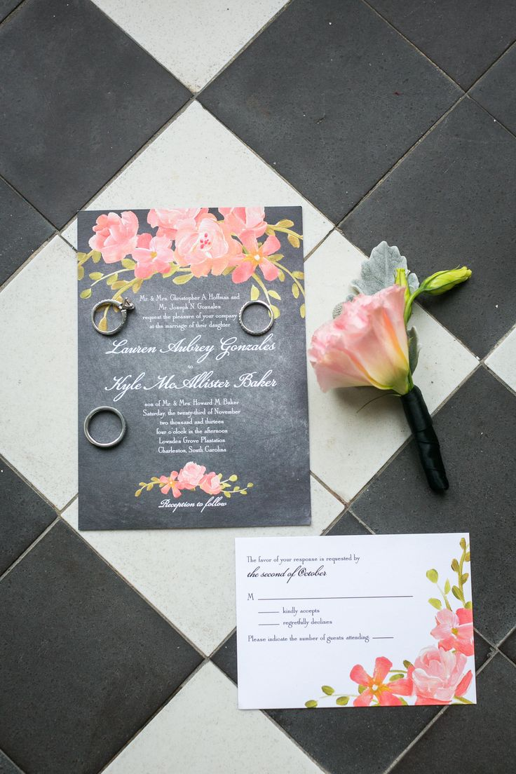 If wedding invitations are a glimpse into your wedding -- these were picture perfect! Love them!! See the wedding on SMP: http://www.stylemepretty.com/south-carolina-weddings/charleston/2014/01/29/elegant-charleston-wedding-at-lowndes-grove-plantation/  Photography: Dana Cubbage Weddings