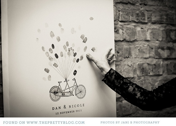 Instead of a traditional written guest book, ask guests to add their fingerprint to an illustration you can frame and keep.