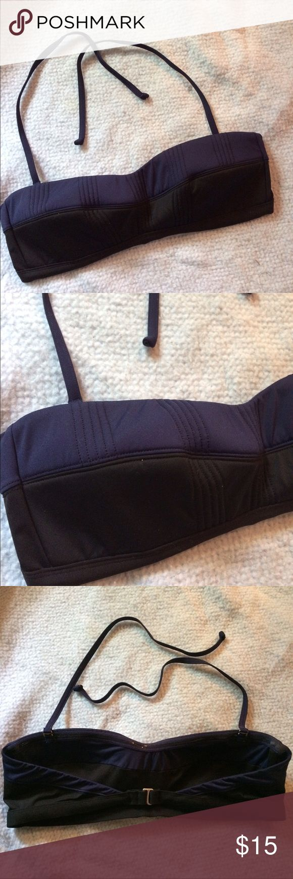 Athleta bandeau style bikini top Size large, in excellent condition. Black and Navy blue color block. Athleta Swim Bikinis