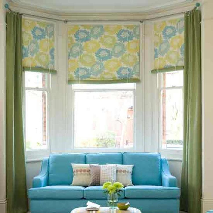 Home Designs And Decor , Ideal Window Treatments For Bay Windows : Window Treatments For Bay Windows Green Curtains And Roman Shades