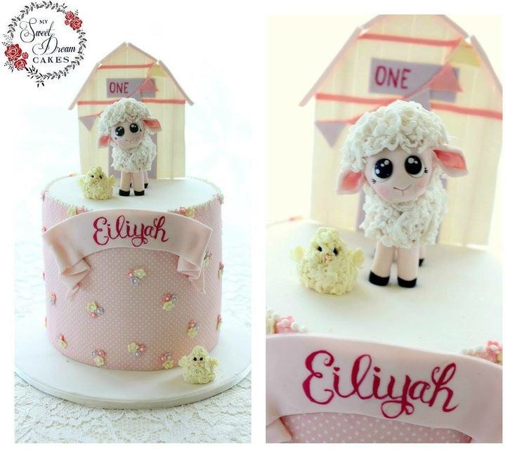 Baby lamb first birthday cake by My Sweet Dream Cakes Perth
