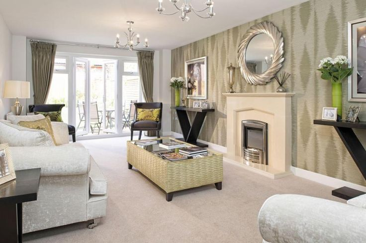 Interior Designed Living Room using a neutral colour scheme, shimmering silver velvet, metallics, spring greens, textured wallpaper and charcoal accents - ultra classy yet modern.  David Wilson Homes, 2015