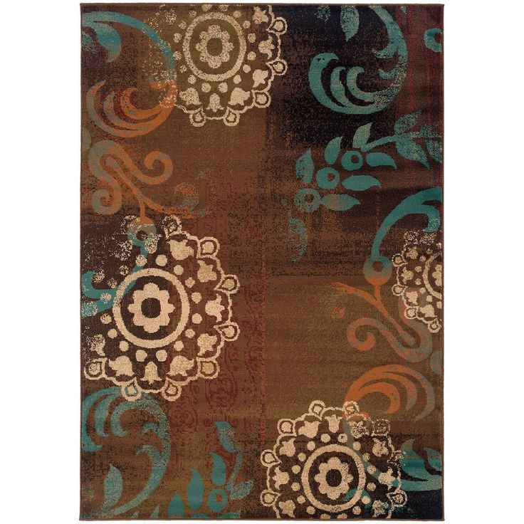 Emerson 2822a brown contemporary rug by oriental weavers - Brown and turquoise living room rugs ...