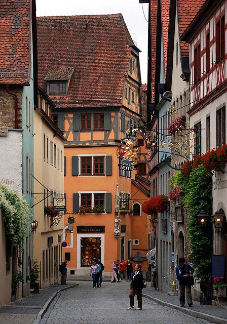 Street Scene, Rothenburg, Germany.....been there but would go again. Is tomorrow too soon?