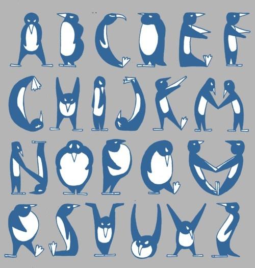 Pinguin alphabet.