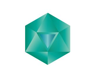 Strong client logo activating the divine feminine with crystalline/diamond energy. Icosahedron from platonic solids is the main figure with a water element from alchemy inserted in its center to create a flow. Behind the water element is a fire element to assist creation and purification. The blue and green colors are soothing and healing in perfect balance.