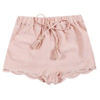 LOUISE MISHA Iberia Shorts in Pink. Cotton shorts with lace trim and tassel drawstring from LITTLECIRCLE Spring Summer 2016 Girls Collection. Shop now: littlecircle.co.uk