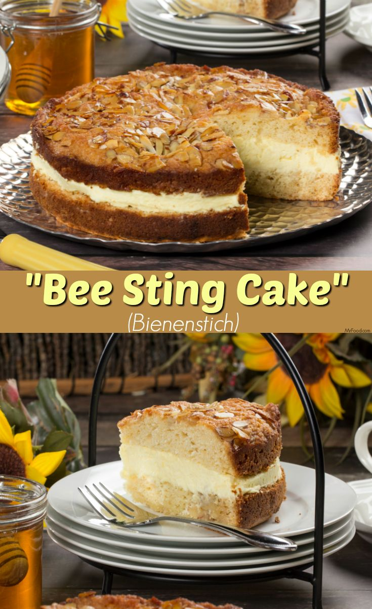 """A Bienenstich is a delicious German dessert. In English it's commonly referred to as a """"Bee Sting Cake"""" and features delicious honey flavor throughout."""