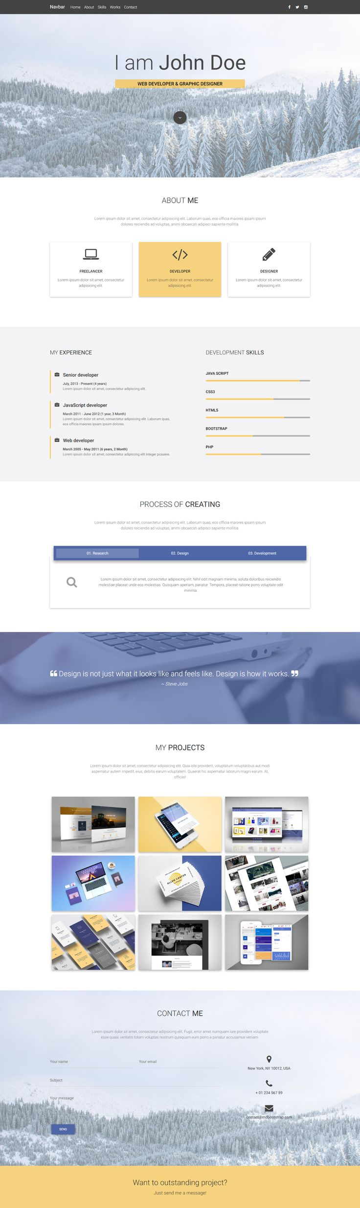 Portfolio Template created especially for web developers and graphic designers