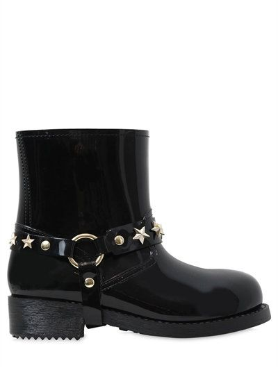 RED VALENTINO - 40MM STAR STUDDED RUBBER BOOTS - BLACK