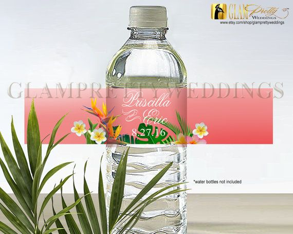 Coral Tropical Water Bottle Label Plumeria by GlamPrettyWeddings