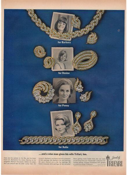 Vintage 1963 Trifari Jewelry Magazine Print Ad Rhinestone ...