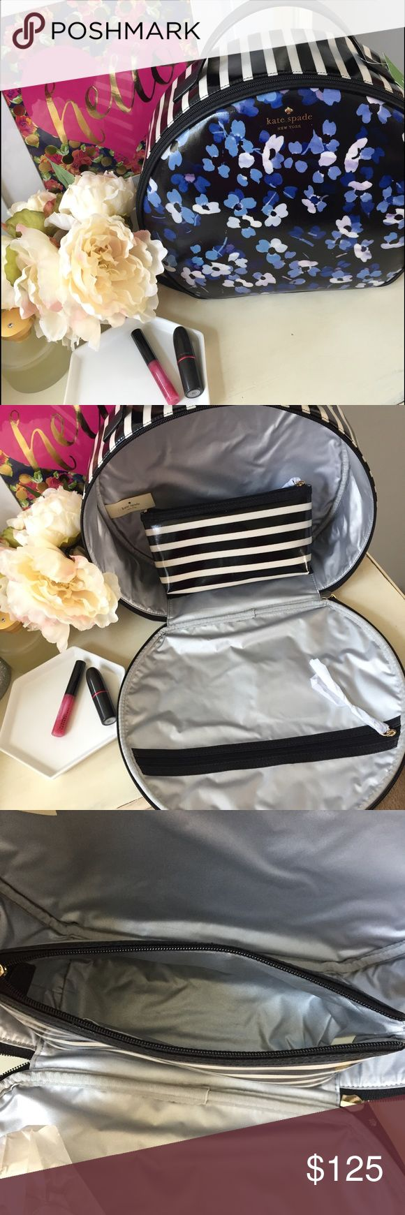 "🆕 Kate Spade Patsie makeup traveling case The perfect makeup travel case from Kate Spade!  Has plenty of room for all your essentials and comes with a mini makeup case inside that has a Velcro bottom. Measurements: 12"" wide x 10.5"" height x4"" depth kate spade Bags Cosmetic Bags & Cases"