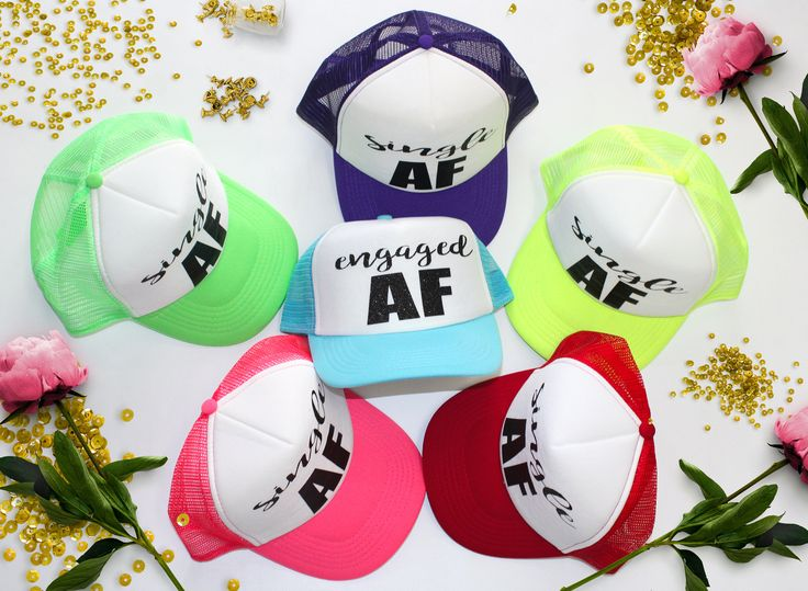 Married AF trucker bridal hat, Single AF Bridesmaid trucker hats,Bridal party #wedding #bridalparty