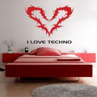 Наклейка по тематике от 2stick.ru Я обожаю техно