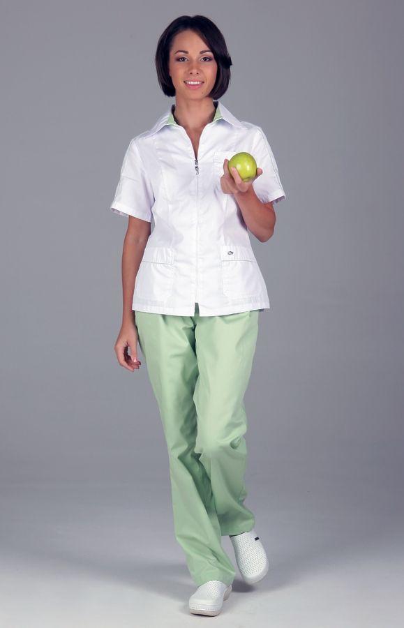 """Блуза медицинская женская """"Клео"""" с отделкой зеленый лист"""