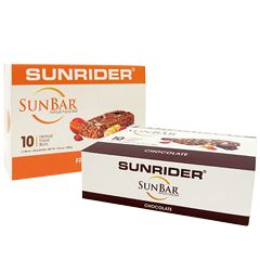More than just another 'energy bar,' SunBar® is a concentrated herbal food that provides true nutrition and sustained energy. Made with wholesome ingredients such as dried fruit, nuts, and asparagus root, SunBar® is full of fiber and rich in soy protein.  Each flavor may contain tree nuts, wheat, and soybeans. Chocolate flavor also contains milk.