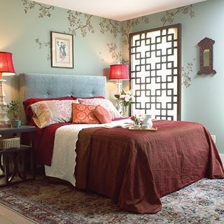 I want a MOON window in my bedroom, but also Love the Asian window treatment shown here